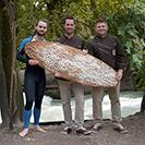 Mit Surfbrett aus Brot auf dem Eisbach
